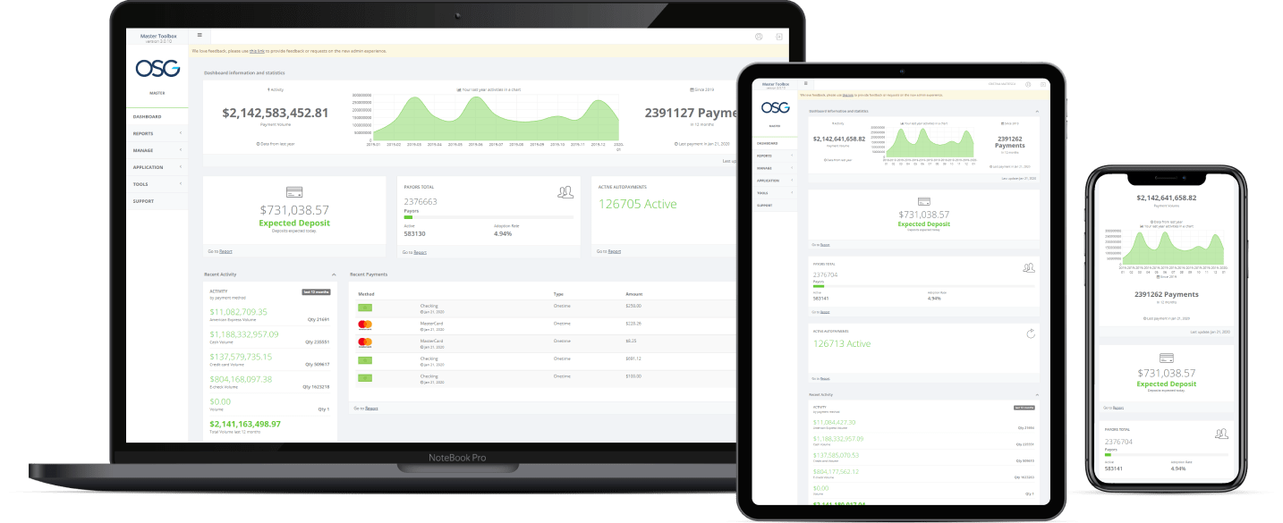 mockups of OSG payment platform on a laptop, ipad, and phone