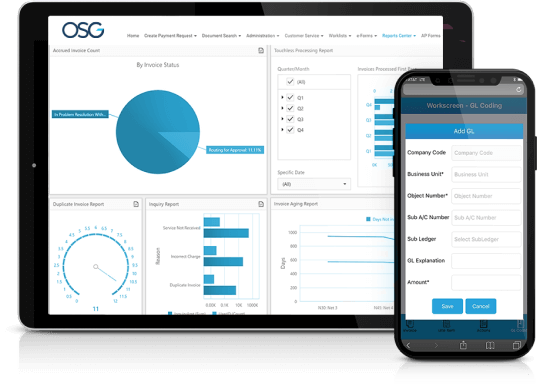 mockup of OSG solutions on an ipad and phone